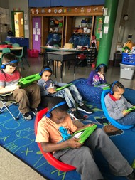 Kindergarten students in Ms. Troher's class using MyON on their IPads.