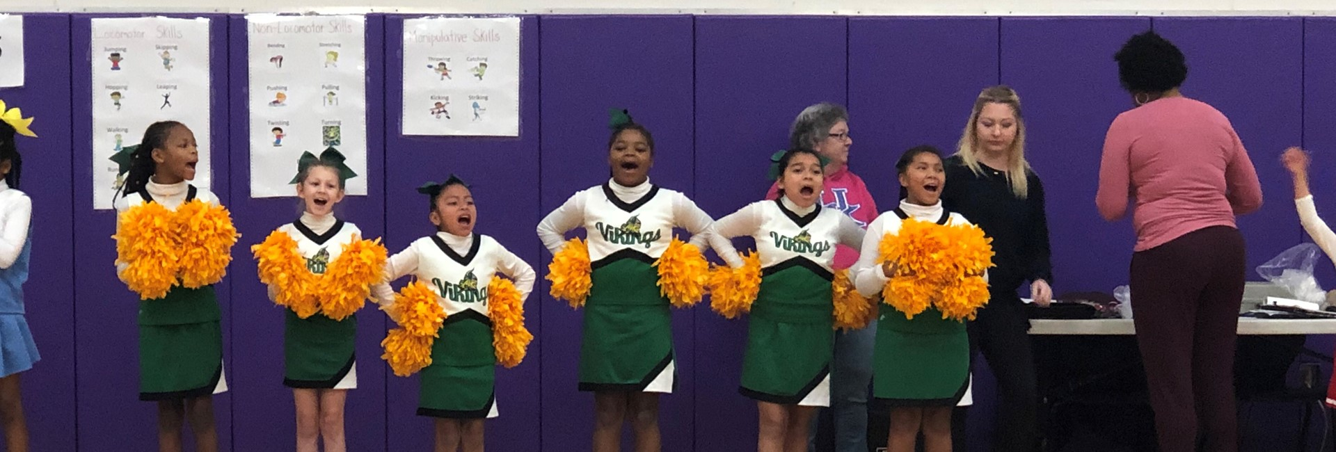 Ninth District Cheerleaders competing at the District Cheer Competition.
